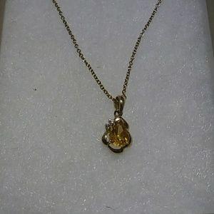 Jewelry - 14KT Solid Gold Pear Citrine & Diamond Pendant